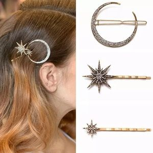 Crescent Moon and Star Hair Pin